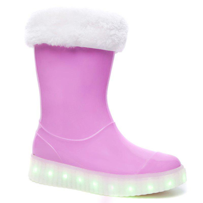 LED Women Warm Casual Shoes Winter Light Snow Boots Female Elevator Cotton Sneakers - PINK 35