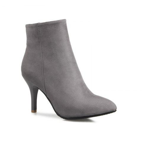Sharp Heel and Fashion Short Boots - GRAY 36