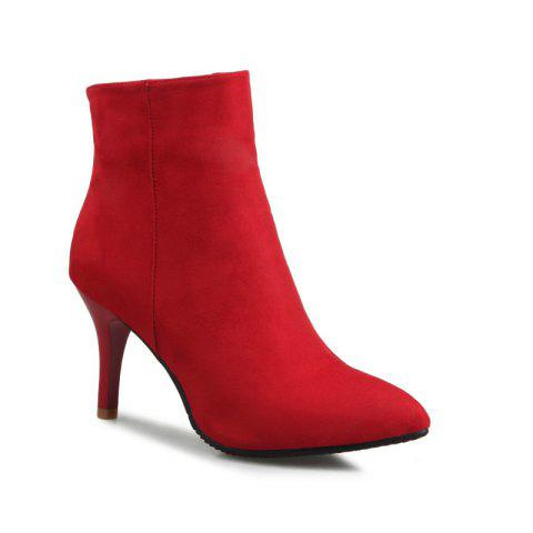 Sharp Heel and Fashion Short Boots - RED 37