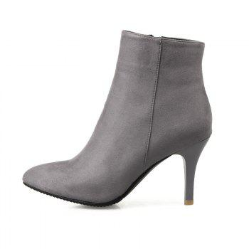 Sharp Heel and Fashion Short Boots - GRAY GRAY