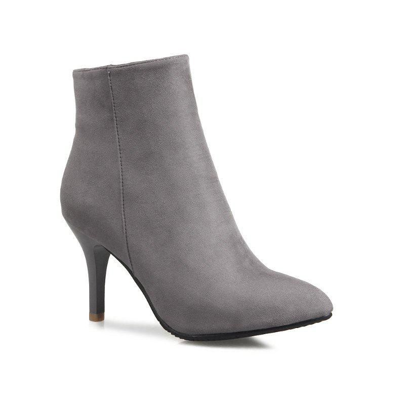Sharp Heel and Fashion Short Boots - GRAY 38