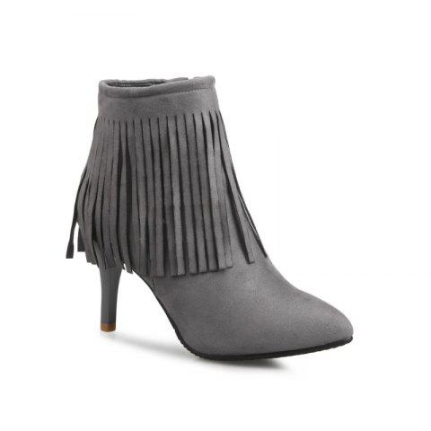 Pointed Heel High Fashion Tassels Short Boots - GRAY 38