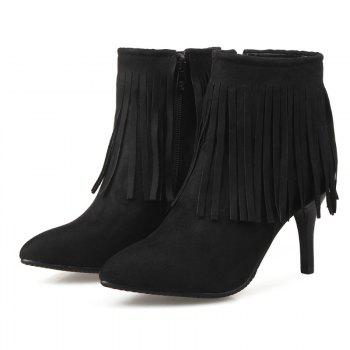 Pointed Heel High Fashion Tassels Short Boots - BLACK BLACK