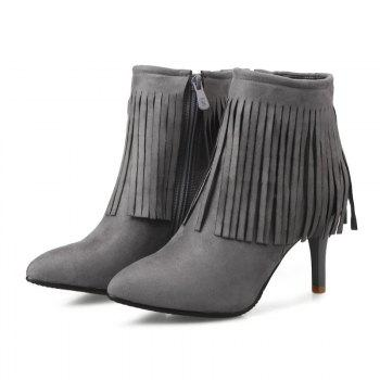 Pointed Heel High Fashion Tassels Short Boots - GRAY GRAY