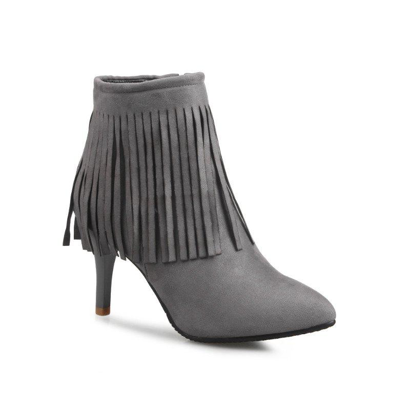 Pointed Heel High Fashion Tassels Short Boots - GRAY 40
