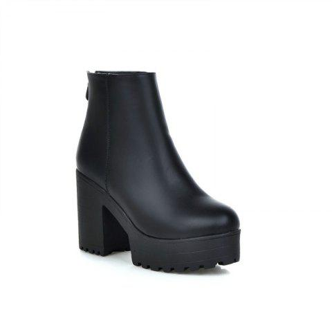 Round Table Rough Heels All-Match Waterproof Ankle Boots - BLACK 42