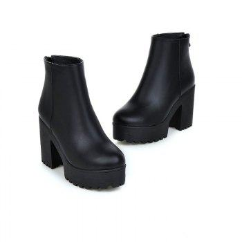 Round Table Rough Heels All-Match Waterproof Ankle Boots - BLACK BLACK