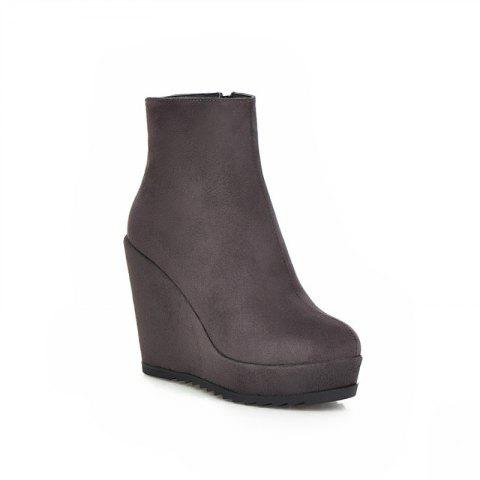 Round Head with High Heels Short Boots - GRAY 37