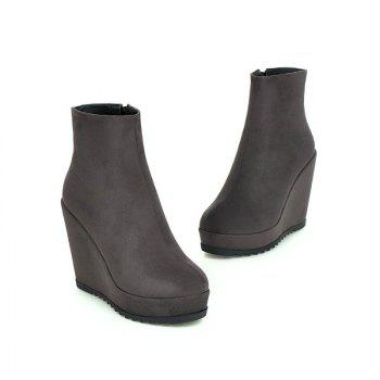 Round Head with High Heels Short Boots - GRAY GRAY