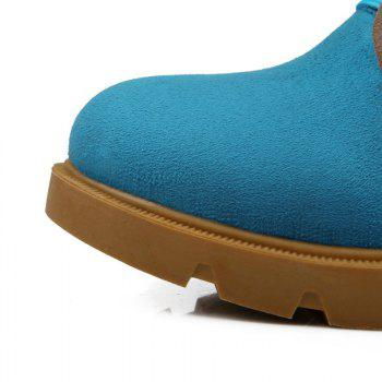 Round Head with Thick Heel Short Boots - BLUE BLUE