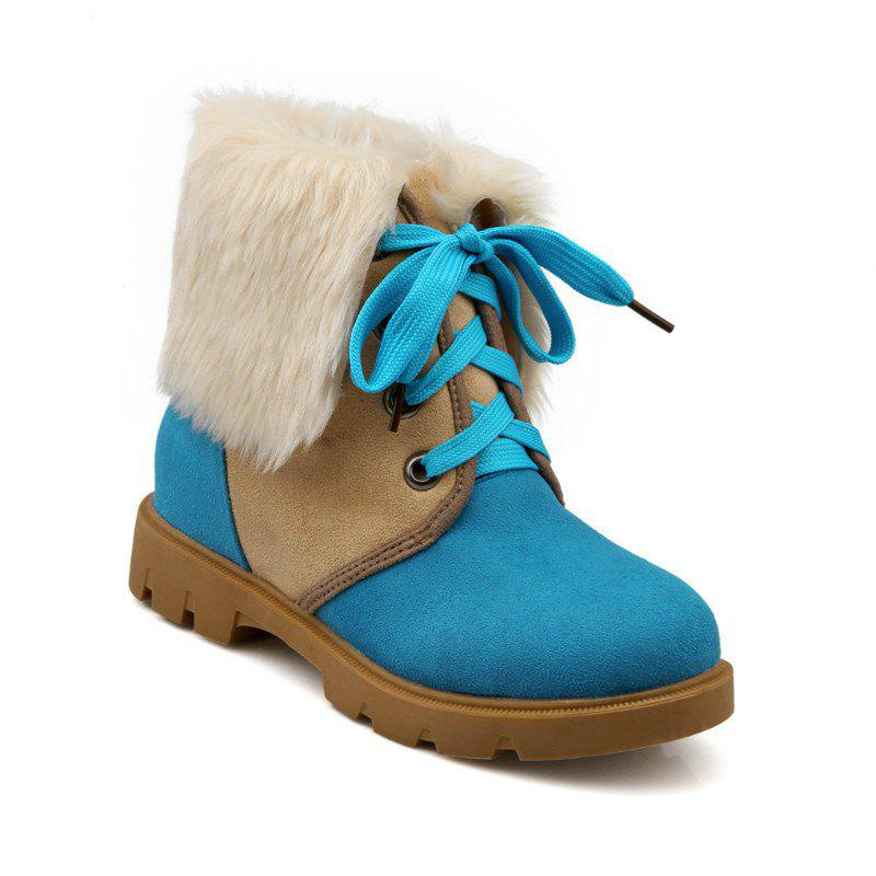 Round Head with Thick Heel Short Boots - BLUE 37