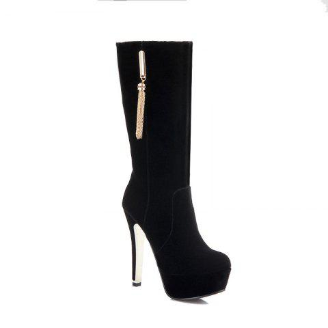 Round Head with High Heel Sexy Boots - BLACK 38