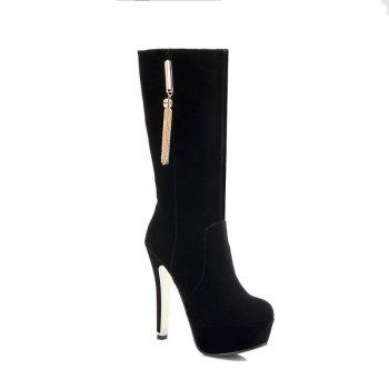 Round Head with High Heel Sexy Boots - BLACK BLACK