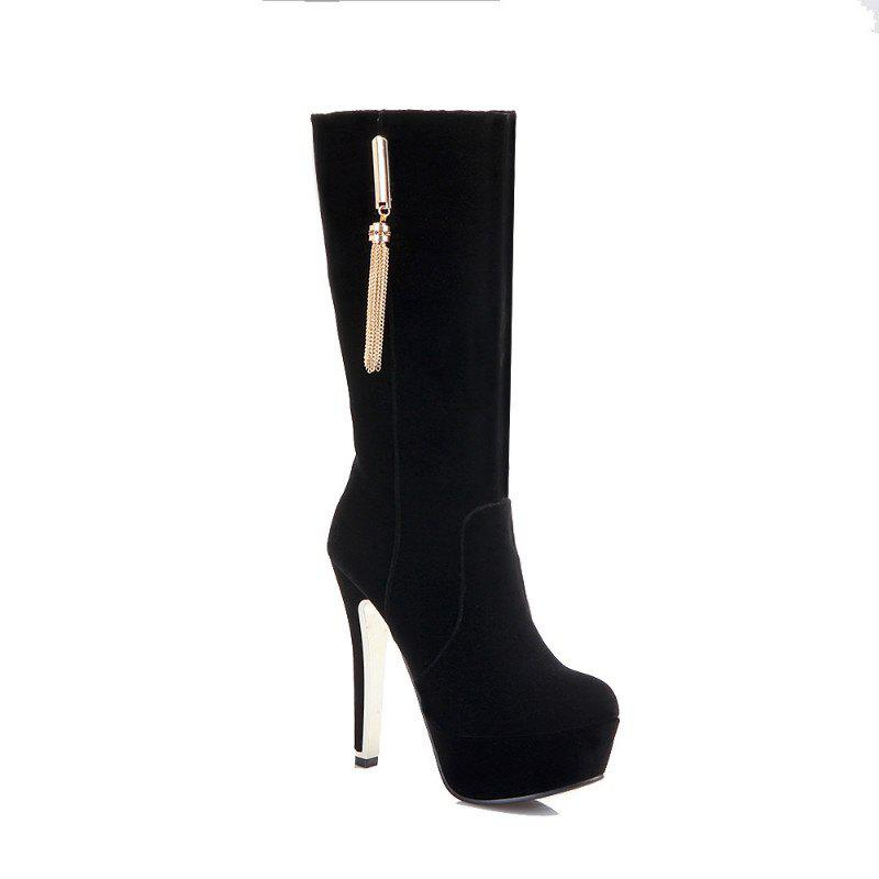 Round Head with High Heel Sexy Boots - BLACK 35