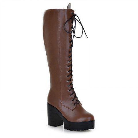 Round Head with High Heels Fashion Boots - BROWN 34