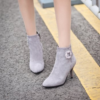 Sharp Pointed with High-Heeled Sexy Diamond Bare Boots - GRAY GRAY