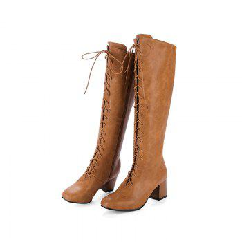 Square Head with The Rough and Vintage Lace-Up Boots - BROWN BROWN