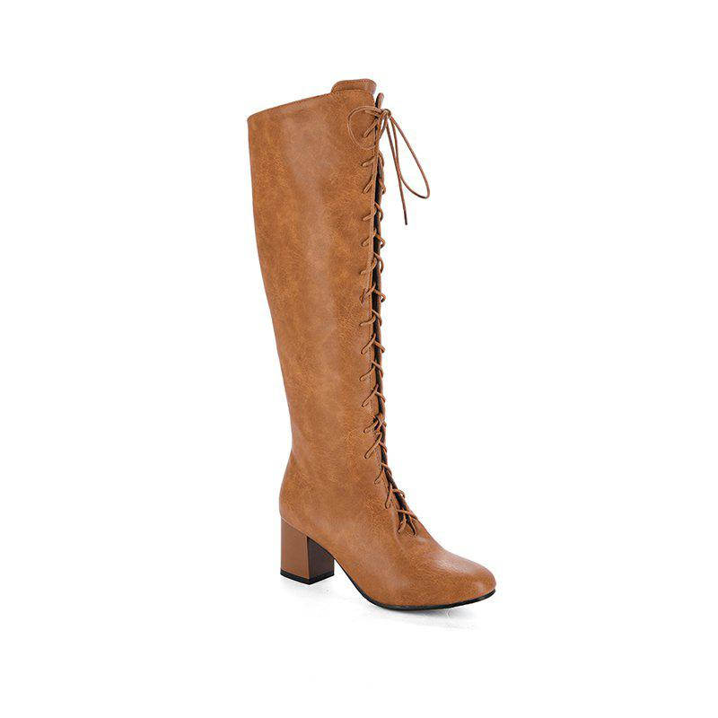 Square Head with The Rough and Vintage Lace-Up Boots - BROWN 41