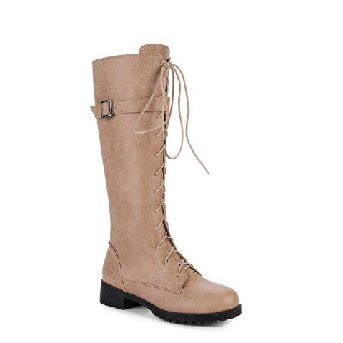Round Head with Low Heel with High Boots - KHAKI 34