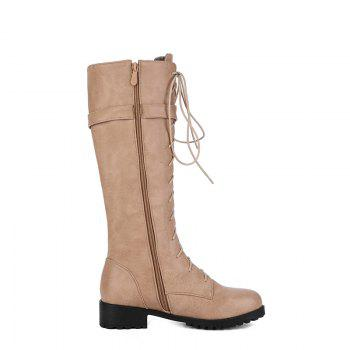 Round Head with Low Heel with High Boots - KHAKI KHAKI