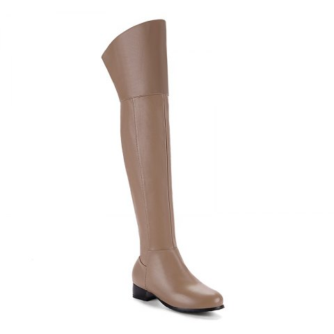 Round Low-Heel with Casual Knee Boots - KHAKI 42