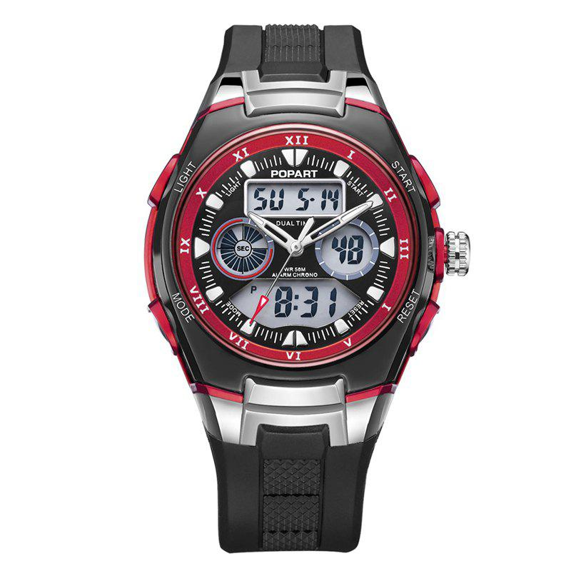 POPART 769AD Trendy Sports Rubber Band Waterproof Unisex Wristwatch - RED