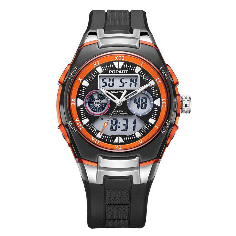 POPART 769AD Trendy Sports Rubber Band Waterproof Unisex Wristwatch - ORANGE
