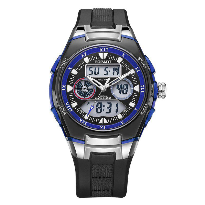 POPART 769AD Trendy Sports Rubber Band Waterproof Unisex Wristwatch - BLUE