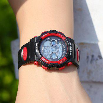 POPART 969D Sports Trendy PU Leather Band Unisex Wristwatch -  RED