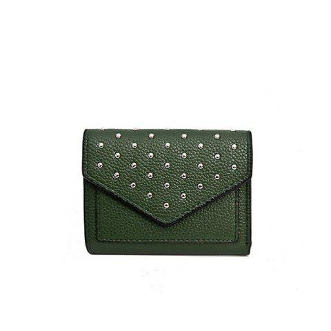 Purse Female New Personality Rivets Short Wallet Fashion Leather Clip Multi-Card Bit Card Package - GREEN