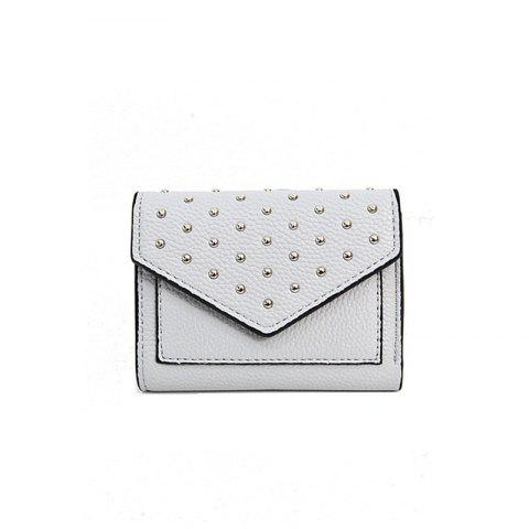 Purse Female New Personality Rivets Short Wallet Fashion Leather Clip Multi-Card Bit Card Package - GRAY