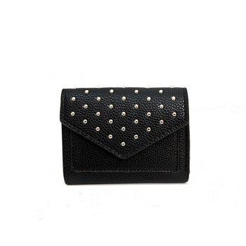 Purse Female New Personality Rivets Short Wallet Fashion Leather Clip Multi-Card Bit Card Package - BLACK BLACK