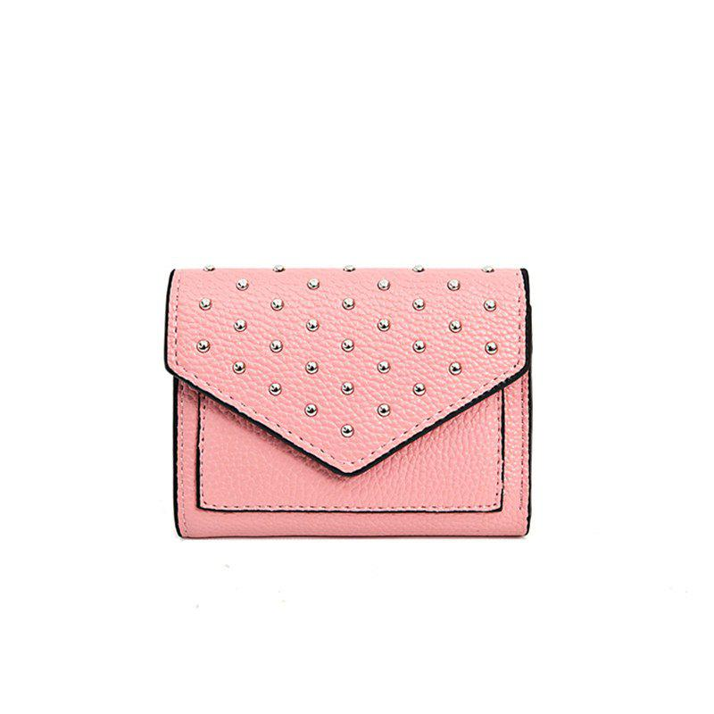 Purse Female New Personality Rivets Short Wallet Fashion Leather Clip Multi-Card Bit Card Package - PINK
