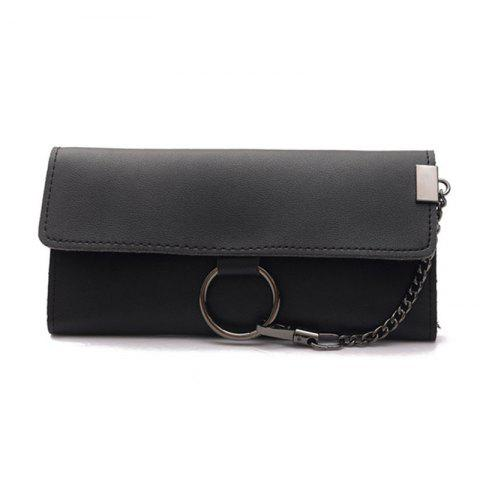Female Long Business Fashion Chain Multi-functional Buckle High-capacity Women's Wallets - BLACK