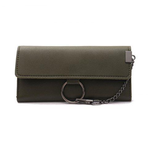 Female Long Business Fashion Chain Multi-functional Buckle High-capacity Women's Wallets - GREEN