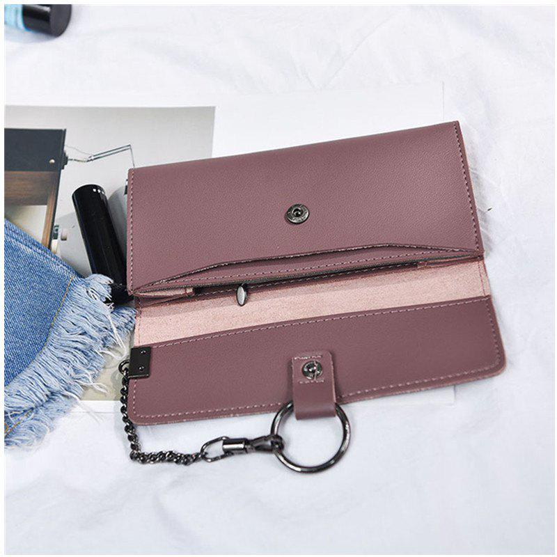 Female Long Business Fashion Chain Multi-functional Buckle High-capacity Women's Wallets - PINK