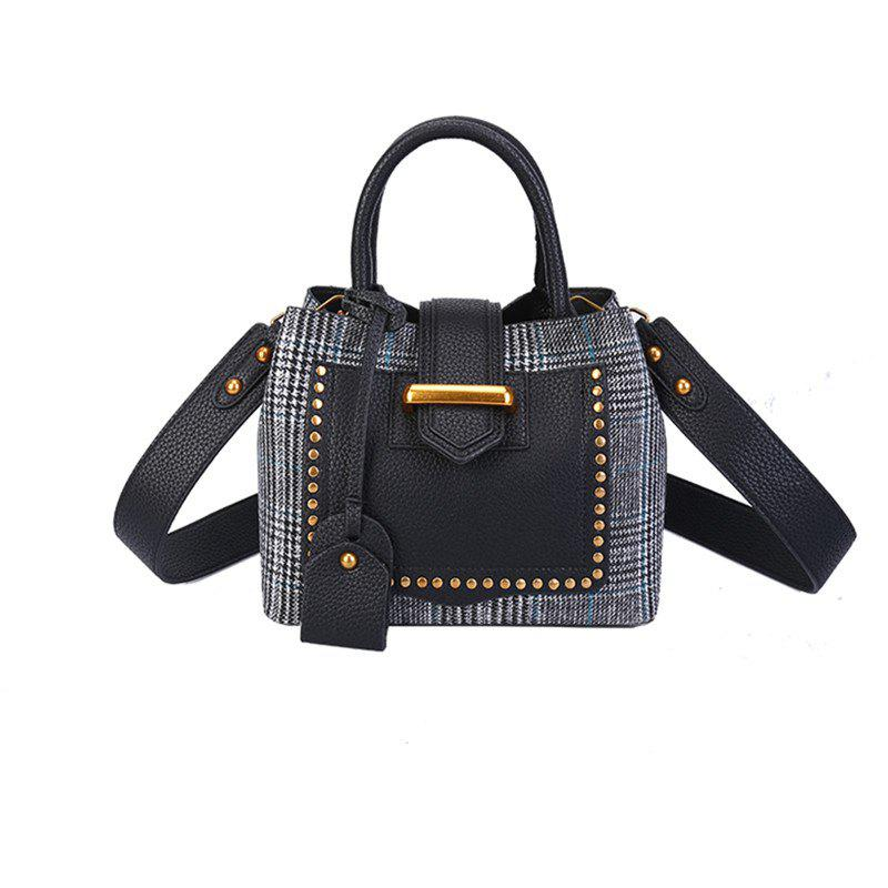 Fashion Woolen Women New Rivets Portable Shoulder Messenger Bag - BLACK