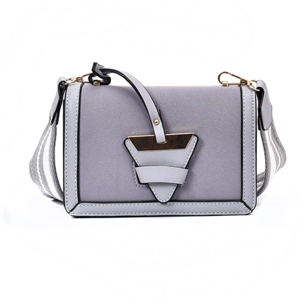 New Tide Shoulder Messenger Triangle Buckle Trend of Fashion Small Square Bag - GRAY