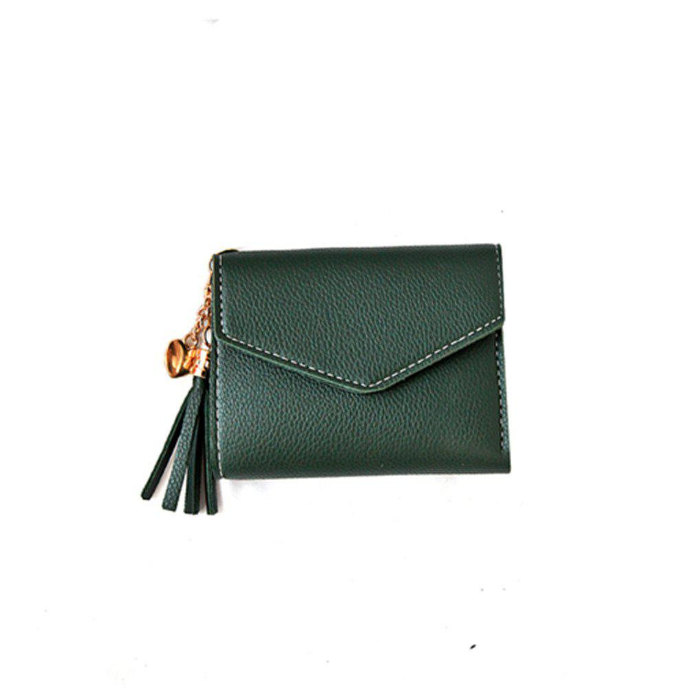New Fringed Multi-card Purse Short Paragraph Mini Handbag Wallet - GREEN