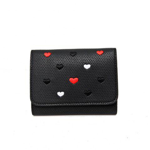 Simple New Embroidery Peach Heart Short Paragraph Small Fresh Fashion Folding Student Wallet - BLACK