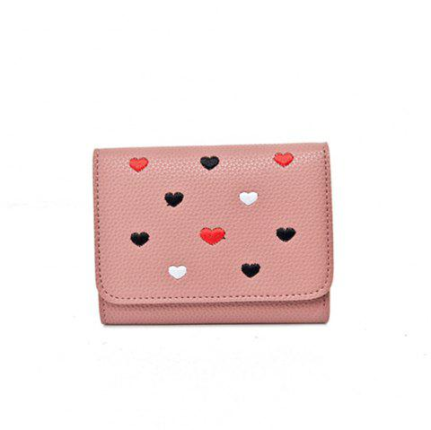 Simple New Embroidery Peach Heart Short Paragraph Small Fresh Fashion Folding Student Wallet - PINK