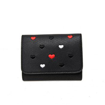 Simple New Embroidery Peach Heart Short Paragraph Small Fresh Fashion Folding Student Wallet - BLACK BLACK