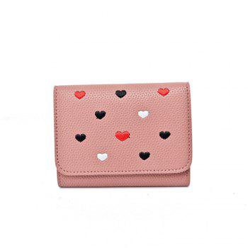 Simple New Embroidery Peach Heart Short Paragraph Small Fresh Fashion Folding Student Wallet - PINK PINK