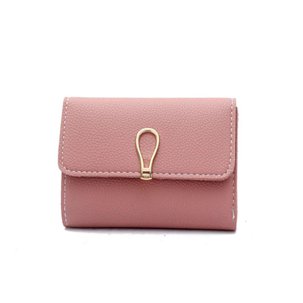 Small Fresh Students Short Section Simple Folding Trend Purse - PINK