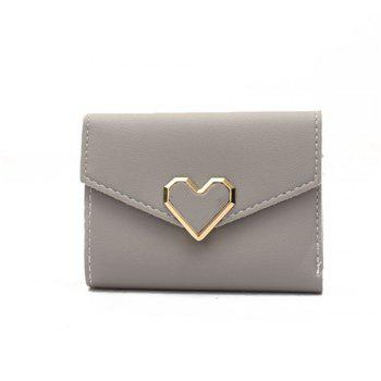Fresh Metal Heart-Shaped Short Women Three Fold Small Wallet