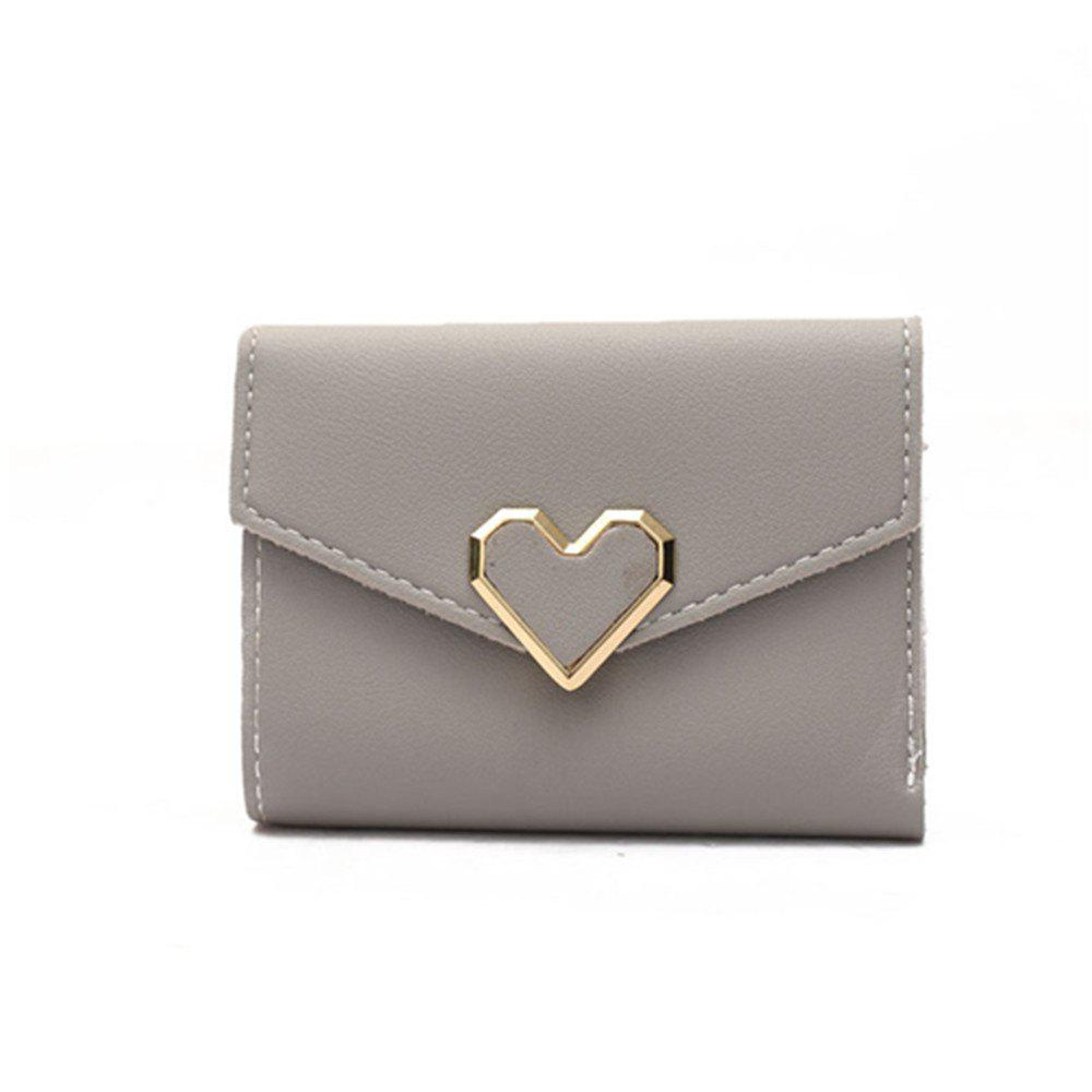 Fresh Metal Heart-Shaped Short Women Three Fold Small Wallet - GRAY