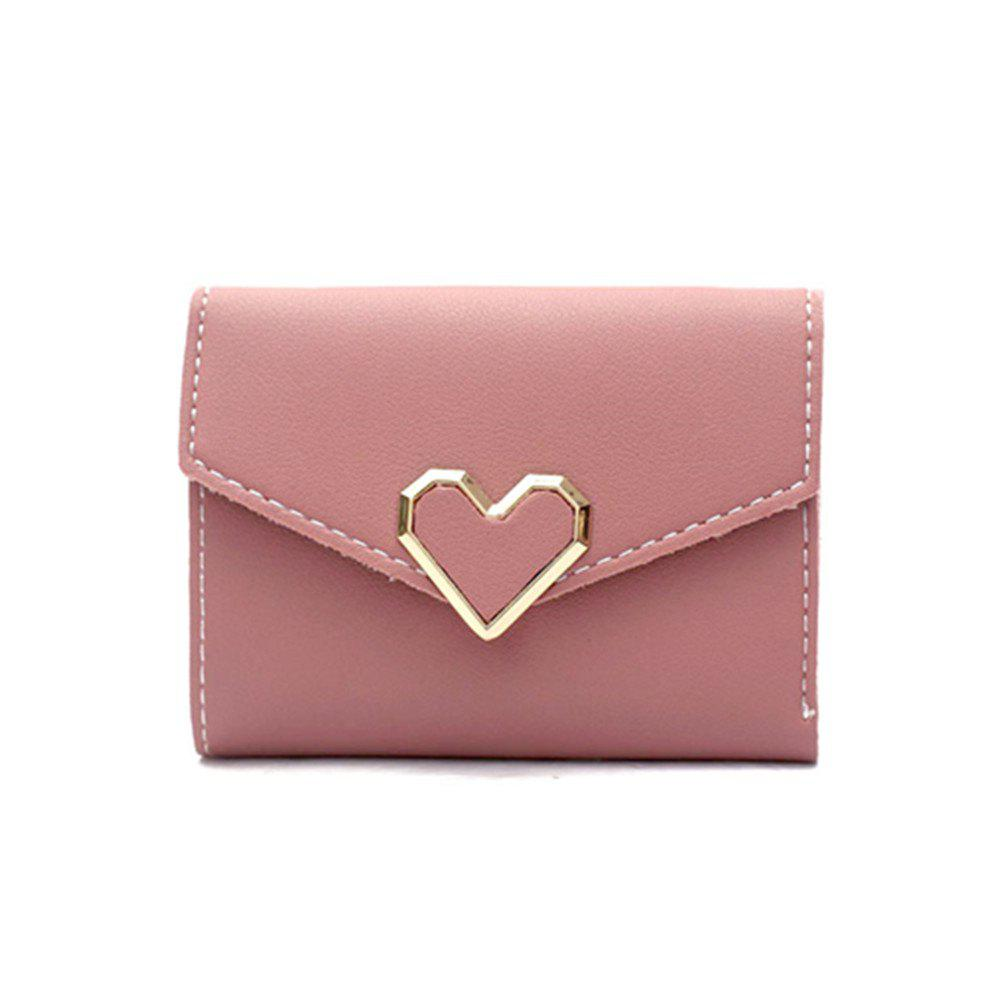 Fresh Metal Heart-Shaped Short Women Three Fold Small Wallet - PINK