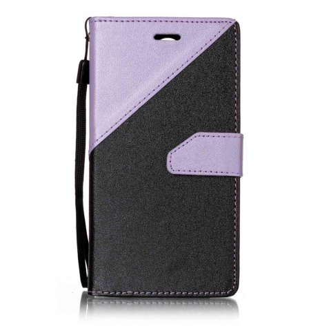 Color Stitching Leather Cover Case for LG K4 - LIGHT PURPLE