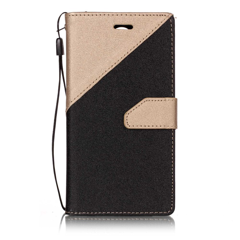 Color Stitching Leather Cover Case for LG K4 - GOLDEN