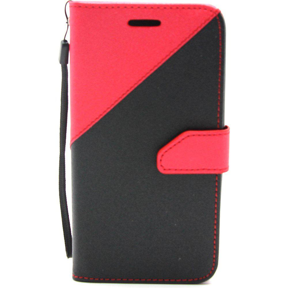 Color Stitching Leather Cover Case for Moto-G5 - RED